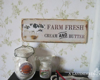 Cream and Butter Sign/Print for Dollhouse Miniature