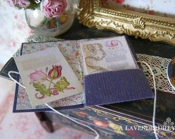Flemish Calligraphy Pocket Fold/Folder for Dollhouse Miniature