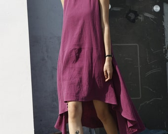 New Lagenlook Ethnic Dress Loose Fitting Dress in Purple Red - NC574