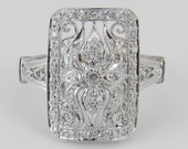 14K White Gold Genuine Natural Diamond Vintage Style Statement Ring Size 4