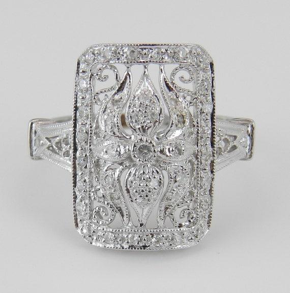 Genuine Natural Diamond Vintage Style Statement Ring 14K White Gold Size 4