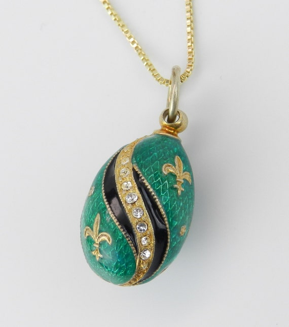 """18K Yellow Gold over Sterling Silver Green Enamel Fleur De Lis Swarovski Crystal Pendant with Chain 20"""" Faberge Style Egg"""