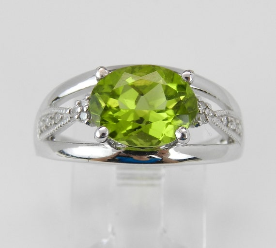 Diamond and Peridot Ring White Gold Ring 1.60 ct Engagement Ring Promise Ring Green Size 6.75
