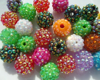 12mm, Rhinestone Gumball Beads 10CT, Mixed Colors ONLY!! A40