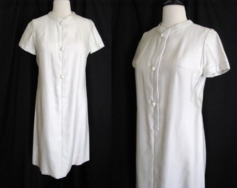 Vintage 1960s Dress Richard Frontman Cream Shift Dress - Large
