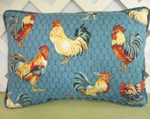 Roosters Pillow, Blue Pillow, Accent Pillow, Home Decor, Farmhouse Decor, Country Chic, Decorative Pillow, Blue, Red Yellow Pillow
