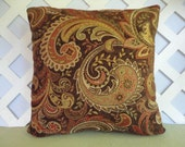 Paisley Pillow Cover in Red Orange, Brown, Green, Gold, Cream/ Paisley Pillow/ Chenille Pillow/ Orange and Brown Pillow/ Accent Pillow