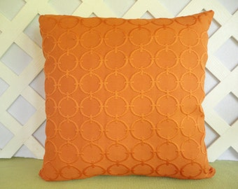 Solid Tangerine Pillow Cover with Circles Pattern/ Circles Pillow Cover/ Orange Pillow/ Decorative Pillow/ Accent Pillow