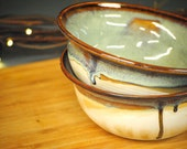 White Turquoise Green Set of Pottery Bowls (Holds 16 OZ)