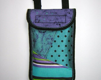 iPhone 6 Plus Case Neck Pocket Smartphone Purse Crossbody Cellphone Cover Small Shoulder Cute Mini Sling Bag mixed fabrics purple turquoise