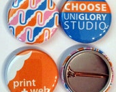 200 1 inch Full color Custom Buttons w/ pin. We can do ANY quantity in 3 different sizes