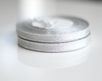 Silver doublesided  satin ribbon - 25 meters / full roll / 10mm
