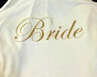 Glitter Bride Flowy Racerback Tank with Bow