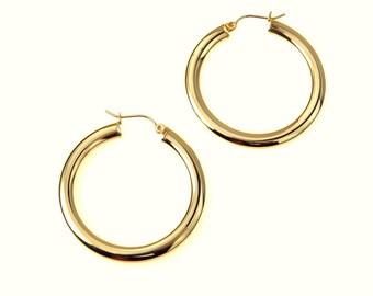 Large 10k Gold Hoop Earrings, Estate Jewelry
