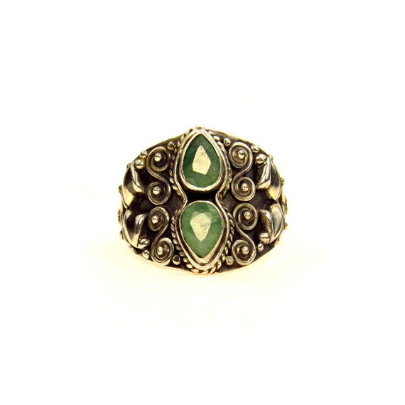sterling silver emerald elaborate cigar band ring by