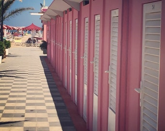 Beach Photograph, Pink Picture, Photograph of Beach Cabanas, Pink Photograph, Pink Home Decor, Pink Art