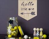Laser cut wood pennant/flag nursery wall hanging newborn hello littleone