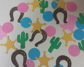 Pink Cowgirl  Birthday party glitter confetti table or invitation scatter 100 count