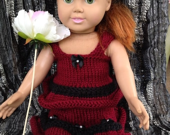 American Girl 18 inch Doll Knit Tank top and Skirt in Black and Burgundy with Satin Bows Ready to Ship and Custom Order Available