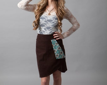 Cordoroy, high-waisted, skirt, faux-wrap skirt, professional, business wear~Coming to Terms (skirt)