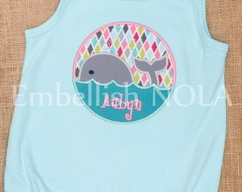 Whale Applique Summer Aqua Bubble