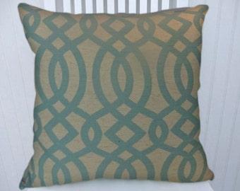 Aqua Decorative Throw Pillow Cover-  18x18 or 20x20 or 22x22 Fabulous Geometric Design- Throw Pillows,  Lumbar Pillow Covers