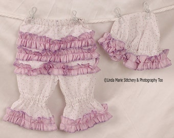 Ruffle Hat and Bloomer Set in White and Lavender Polka Dots
