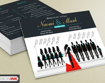 Custom Wedding Program - Silhouette Wedding Program - wedding ceremony program - Ceremony Program