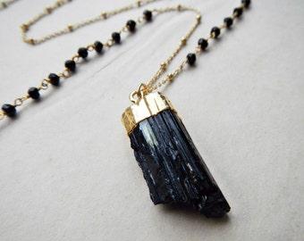 raw black tourmaline necklace - long black tourmaline necklace - schorl necklace - black tourmaline jewelry - healing stone jewelry