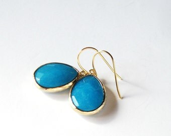 Sea Blue Earrings, Gift for Her, Stone Jewelry, Gold Dangle Earrings, Summer Jewelry, Bridesmaid Gift