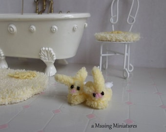 Fluffy Yellow Bunny Slippers in 1:12 Scale for Dollhouse Miniature Easter Bedroom or Nursury