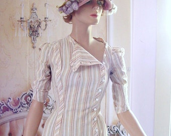 Edwardian Linen Striped Dress Exc Multi Color Day Dress Downton Abbey