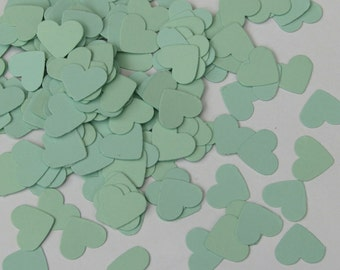 Confetti hearts 200 pcs - mint green - cardboard party wedding scrapbook crafts