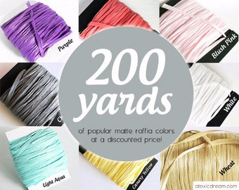 200 yards Bulk Raffia Ribbon - Choose your Color - Weddings Formal Events