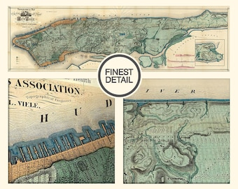 Vintage Wall map of New York, Long island map, Vintage New York map, NYC, 114
