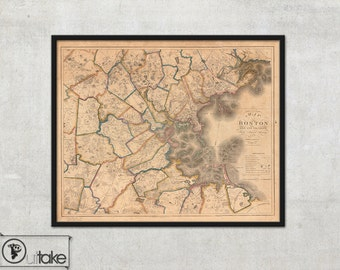 Vintage Wall map of Boston, Massachusetts, 1829 - interior map design, home decor - 111