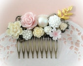 Wedding Hair Comb For Bride Ivory Blush Pink Gold Soft Pastel Bridal Floral Headpiece Romantic Flower Hair Slide Shabby Chic Vintage Style