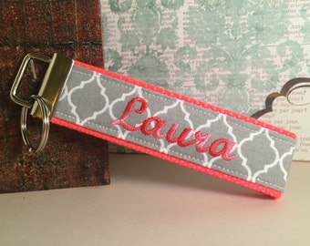 Personalized Key Fob / Keychain / Wristlet - Gray Qautrefoil with Coral