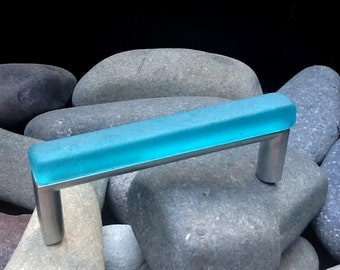 """3-3/4""""tumbled glass cabinet pull"""