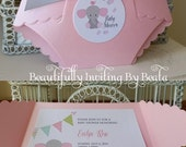 Baby Elephant Diaper Invitation for Baby Shower - Pink and Gray Baby Shower  - Baby Girl Shower Custom Order for Amiee