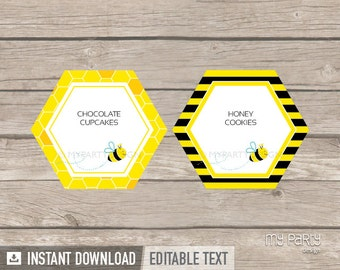 Bee Baby Shower Food Labels - Place Cards - Neutral Baby Shower - INSTANT DOWNLOAD - Printable PDF with Editable Text