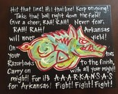 Arkansas Razorback fight song Funky Colors Canvas Painting