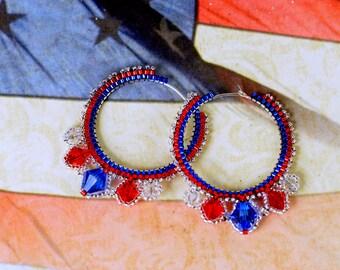 Patriotic Hoop Earrings, Red White & Blue Earrings, Fourth of July Earrings, July 4th Earrings, 4th of July Earrings, Holiday Earrings