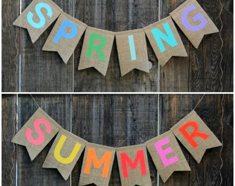 SPRING and SUMMER reversible burlap banner