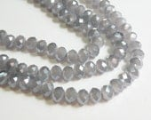 Wisteria Dusty Lavender faceted glass rondelle opalescent beads 8x6mm full strand PEGLA-F05-3