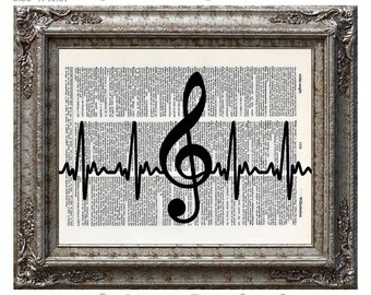 Music Heartbeat with Treble Clef on Vintage Upcycled Dictionary Art Print Book Art Print Recycled Music Notes Musical Symbols Love
