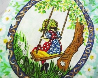 Vintage Holly Hobbie fabric vignettes medallions green white blue bonnet girl