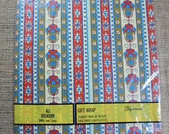 Vintage All Occasion Gift Wrap,  Retro Gift Wrap, Quilters Gift, In Original Package, Forget Me Not Gift Wrap,  # 603