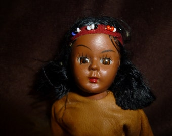 Native American Indian Vintage Hard Plastic Doll