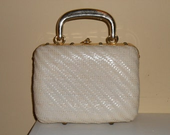 Vintage 1950's Delill  Woven White Wicker Handbag